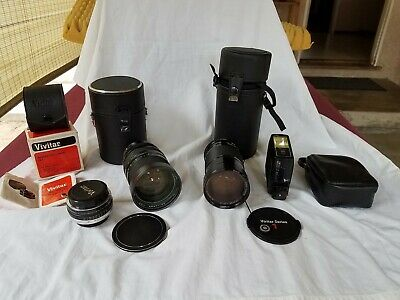 LOT x4 Camera Lens x2 Vivitar Macro 28-90mm 1:2.8-3.5, Auto Zoom 35-105mm 1:3.5