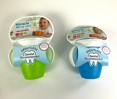 2 Count Munchkin Miracle 360 Trainer Sippy Cups Spill Proof Green/Blue 7 Ounce