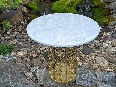 W&Z Italy Mid-Century Modern White Marble Top & Reticulated Brass Pedestal Table