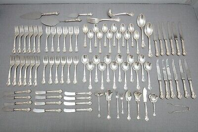 Gorham Chantilly Sterling Silver Flatware Dinner Set   Service for 12, 88 Pieces