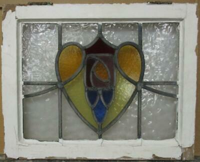 "OLD ENGLISH LEADED STAINED GLASS WINDOW Stunning Abstract Heart 21.5"" x 17.25"""