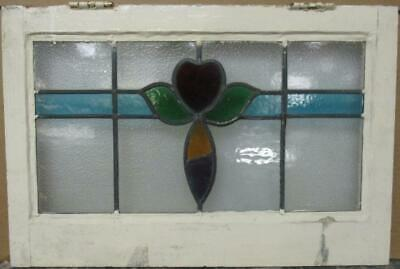 "MIDSIZE OLD ENGLISH LEADED STAINED GLASS WINDOW Colorful Heart & Band 24"" x 16"""