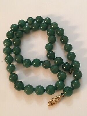 Antique 14K Gold Green Jade Jadeite Chinese Carved Bead Necklace Asian