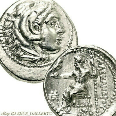 ALEXANDER the Great LIFETIME ISSUE Ancient Coin Silver Sardes ROSE Herakles Zeus