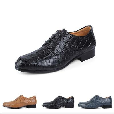 Mens Alligator Pattern Lace Up Pumps Chunky Round Toe Leather Shoes Oxfords New