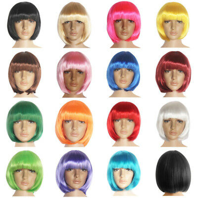 Women Short Straight Bob Wig Heat Resistant Cosplay Party Costume Full Hair Wigs