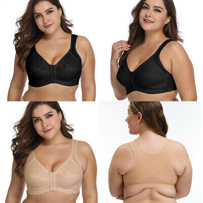 Women/'s Front Closure Full Cup Wirefree Racerback Lace Plus Size Bra 36-48 ABCDE