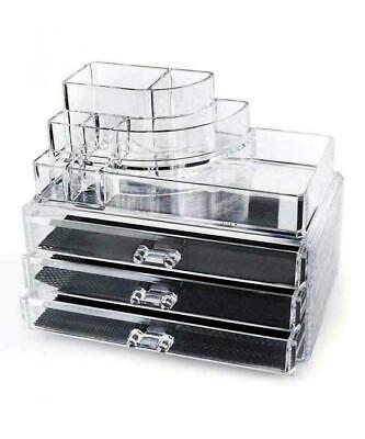Home-it Clear Acrylic Cosmetic Holder Large 3 Drawer Jewerly Chest or Make...