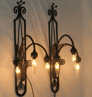 PR Antique Medieval Gothic Vintage Spanish French Sconces lily Iron Art Nouveau