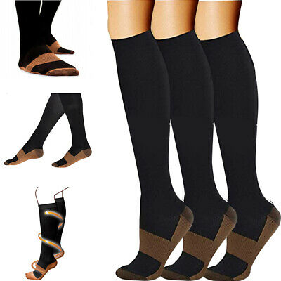 5 Pairs Graduated 20-30mmHG Knee High Copper Infused Compression Support Socks