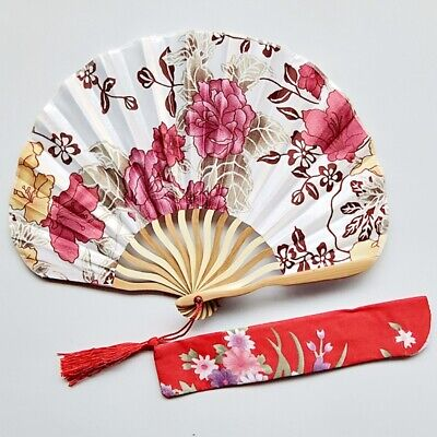 Chinese Japanese Silk Round Folding Hand Held Fan Fan Flower Bamboo Pocket Fan