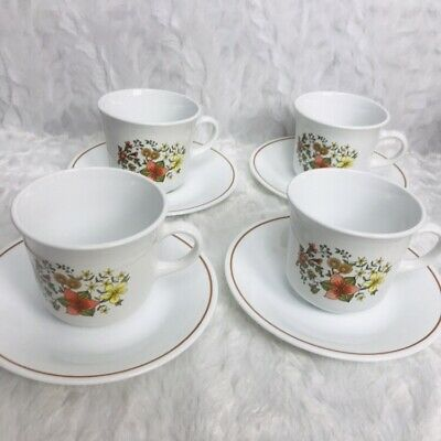 Vintage Corelle by Corning 4  Cup and Saucer sets - Indian Summer floral design
