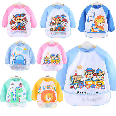 Animals Long Sleeve Baby Kids Bibs Bib Apron Waterproof Feeding Smock Toddler AU