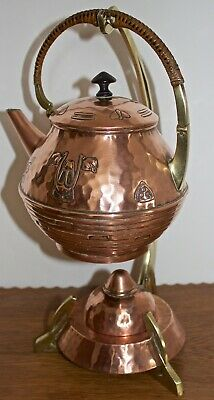 Antique Art Nouveau Wmf Secessionist Copper & Brass Kettle On Stand With Burner