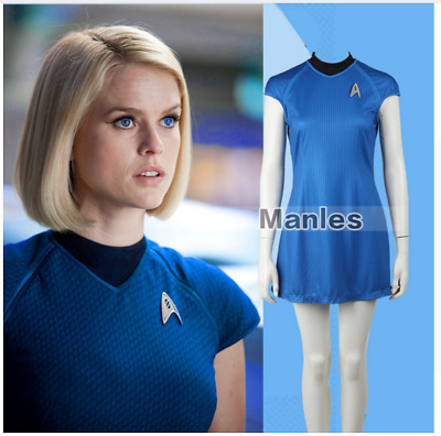Star Trek Into Darkness Women Dress Fleet Uhura  Blue  Uniform Cosplay Costume