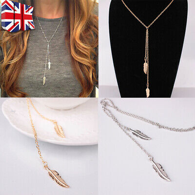 Women Boho Leaf Feather Pendant Gold Silver Plated Tassel Long Chain Necklace UK