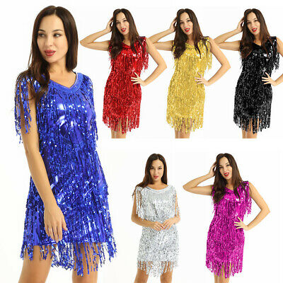 Women's V Neck Sequin Tassels Fringe Flapper Latin Jazz Samba Tango Dance Dress