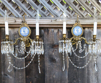 2 Wedgwood Porcelain blue cameo Plaque brass crystal sconce lamp French Spain