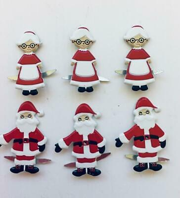 BRADS SANTA & MRS CLAUS pk of 6 christmas xmas split pin craft cards