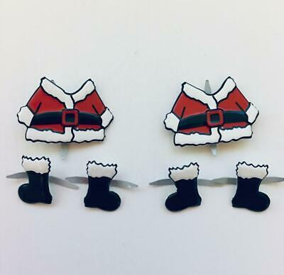 BRADS SANTA SUIT / BOOTS pk of 6 christmas xmas split pin craft cards
