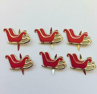 BRADS SANTA's RED SLEIGH  pk of 6 christmas xmas split pin craft cards