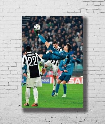 Cristiano Ronaldo Shooting Upside Down Football Star 12x18 24x36 Silk Art Poster