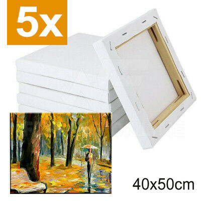 Artist Blank White Stretched Canvas Super Value Pack 5 Acrylic Wood 40X50cm