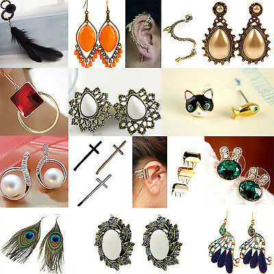 Fashion jewelry Wholesale job lots Pairs ear rings Mixed Silver Stud Earrings