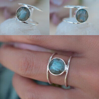Womens 925 Silver Elegant Labradorite Rings Ladies CZ Wedding Party Jewelry Gift