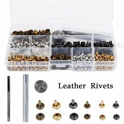 240x DIY Leather Craft Double Cap Rivets Tubular Metal Studs Fixing Tool Kit UK