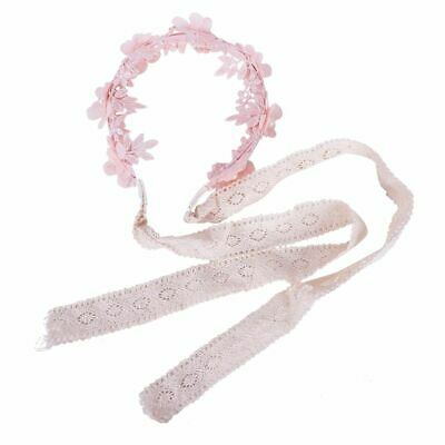 10X(Girl headband Baby girl lace pearl flower hair band (Pink) Z4V6)