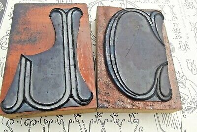 Antique French Printing Block Gothic Letter Monogram Wood Rubber Stamp Seal