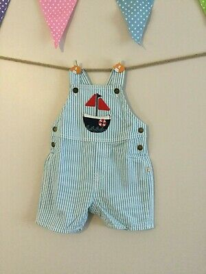 M/&S Autograph 100/%Cotton Knitted Striped Dungarees 6-9m 72cm Blue Mix BNWT