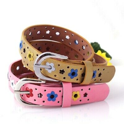 Kids Boys Girls Candy Color Faux Leather Band Flower Belt With Buckles Waistband