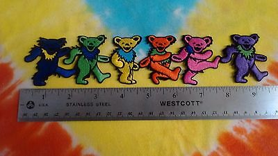 Grateful Dead Row of Dancing Bears 9.25 Inch Iron On Patch