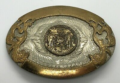Vintage WESTERN BELT BUCKLE - Seal of Wisconsin - Award Design Medals inc