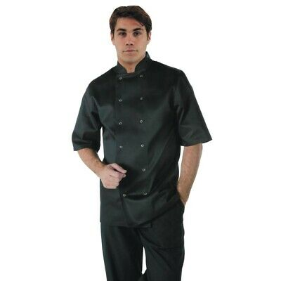 Whites Vegas Unisex Chef Jacket Short Sleeve Black - XXL [A439-XXL]