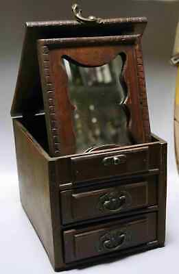 Collect Qianlong Antique Boxwood Hand Carve Delicate Noble Girl Mirror Jewel Box