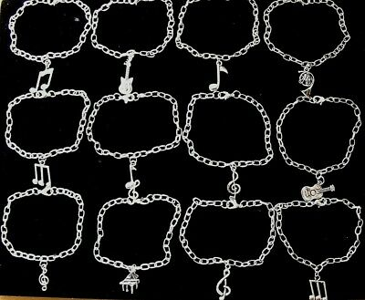 Wholesale Jewellery 12 Music Charm Bracelets, Gifts,Joblot,Notes,Guitar,Piano