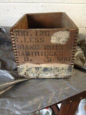 Vintage Wooden Cartridge Crate Box with markings, nice vintage patina