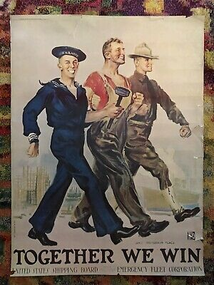 Together We Will Win United States Shipping Board Original Vintage Poster