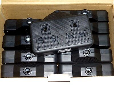 Rubberized Plastic Black 2 Gang Extension Sockets High Impact 13A - Pack of 10