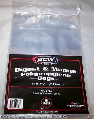 100 BCW Manga /Readers Digest Acid Free 2-Mil Poly Bags 6x7 5/8 archival sleeves