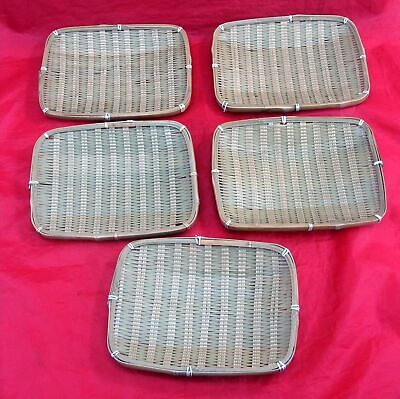 Vintage Lot Of 5 Japanese Rectangle Woven Bamboo Plates Dishes Trays