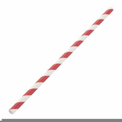 Fiesta Green Biodegradable Paper Straws Red Stripes (Set of 250) [DE927]