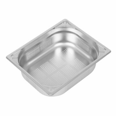 Vogue Heavy Duty Stainless Steel Perforated 1/2 Gastronorm Pan 100mm [DY177]