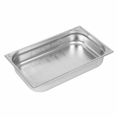 Vogue Heavy Duty Stainless Steel Perforated 1/1 Gastronorm Pan 100mm [DW462]