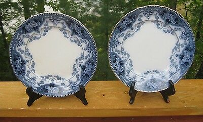 PAIR OF ANTIQUE FLOW BLUE PLATES WITH GILDING c1910-1930 FORD & SONS  BURSLEM