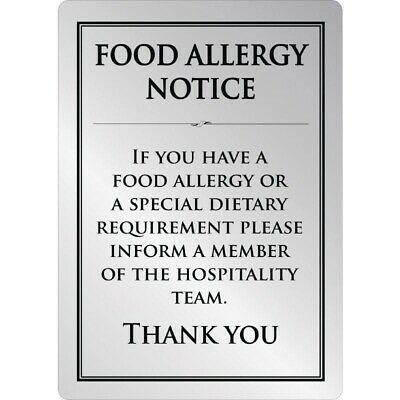 Brushed Steel Food allergy sign A5 [GM817]