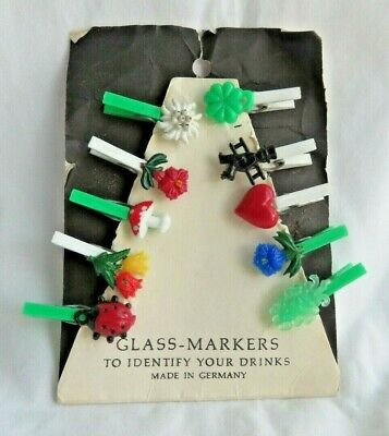 Small Vintage On Card Germany Glass-Markers Plastic Clothespin Drink Markers
